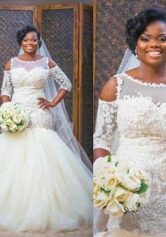 Mermaid Lace Appliques Half Sleeves Bridal Dresses Tulle Bottom Popular 2018  Wedding Dress