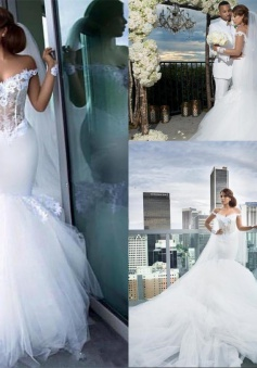 Mermaid Tulle Elegant Appliques Off-the-Shoulder Long-Sleeves Wedding Dress BA4387