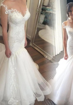 Button Mermaid mermaid Sweetheart Charming Tulle Zipper Lace Beadings Wedding Dress