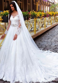 Elegant Princess Crystal Lace Long-Sleeve Wedding Dresses
