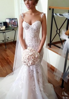 Long Applique Sleeveless Mermaid Spaghetti-Strap Tulle Wedding Dresses