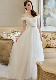 Crystal Newest Long Off-the-shoulder A-line Wedding Dress