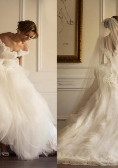 Off-the-shoulder A-line Sweep-Train Flowers Modern Tulle Ruffles Wedding Dress