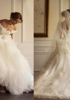 Off-the-shoulder A-line Sweep-Train Flowers Modern Tulle Ruffles Wedding Dress