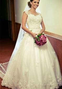 Appliques Princess Cap-Sleeve Lace Gown Ball Crystal-Belt Jewel Tulle Wedding Dress