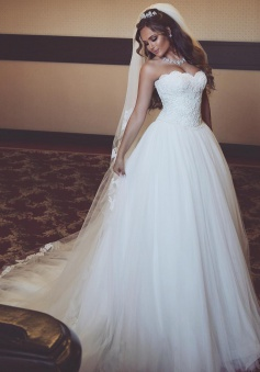 Gorgeous Tulle Sweetheart Sleeveless Lace Long Wedding Dresses