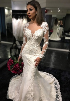 Charming Long Sleeves Mermaid Bridal Dresses 2018 Tulle Appliques Mermaid Sheer Back Wedding Dress