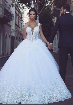 Elegant Tulle V-Neck Sleeveless Appliques Ball Wedding Dress