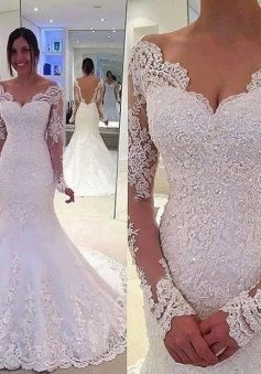Elegant Off-the-Shoulder Long Sleeves Bridal Gowns Lace Mermaid Wedding Dresses 2018 BA3742
