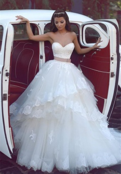 2018 Sweetheart Ruffles Lace Wedding Dresses Strapless Tulle Cheap Bridal Gowns BA5565