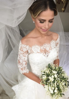 Gorgeous Lace Half Sleeve 2018 Wedding Dresses Ruffles Organza Bridal Dresses