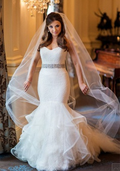 Sweetheart Mermaid Organza Wedding Dress 2018 Elegant Bridal Dresses with Crystal Belt