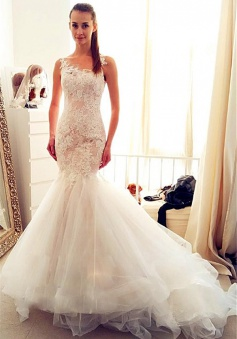 Sleevelss Sheath Mermaid Wedding Dresses Lace 2018 Tulle Long Bridal Gowns Cheap