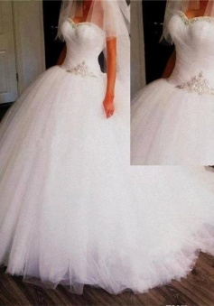 Princess Sweetheart Ball Gown Wedding Dresses Puffy Tulle Crystals Bridal Dresses