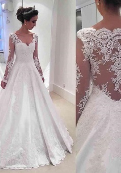 Long Sleeve V-neck 2018 Wedding Dresses Online Sheer Lace Back Bridal Dresses