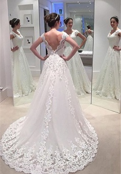 Elegant A-line Lace Bride Dress 2018 V-neck Open Back Long Train Wedding Dress Cheap