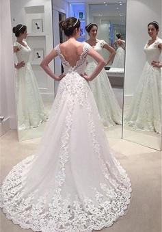 Elegant A-line Lace Bride Dress 2018 V-neck Open Back Long Train Wedding Dress Cheap
