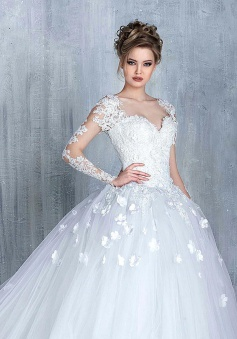 New Arrival Long Sleeve Lace Bridal Gowns Tulle Open Back Court Train Wedding Dresses