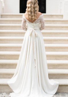 A Line Half Sleeve Lace Wedding Dress 2018 Off Shoulder V Back Bohemian Bridal Gown