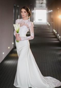 Vintage Long Sleeve Lace High Neck Wedding Dress Satin Bridal Gown ...