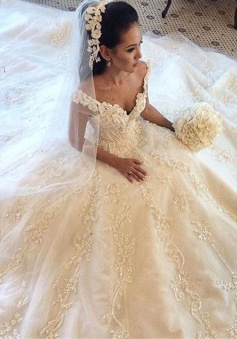 Gorgeous Off the Shoulder Princess Dress Latest Chapel Train Lace Wedding Dresses