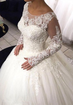 Long Sleeve Lace Ball Gown Wedding Dress Tulle Sweep Train 2018 Bridal Gowns
