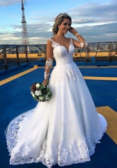 Gorgeous Lace Sweep Train 2018 Bridal Gown Long Sleeve Tulle Wedding Dresses BA6360