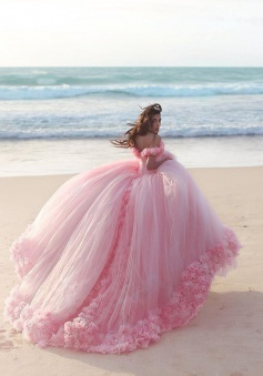 2018 Sweet 16 Quinceanera Dresses Off The Shoulder Corset Canfy Pink Wedding Dress with Flowers BA3070