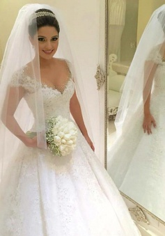 Gorgeous Tulle Crystal Wedding Dresses 2018 Lace Short Sleeve Bridal Gowns