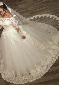 2018 Ball Gown Wedding Dresses Long Sleeves Off Shoulder High Quality Bridal Gowns BA2878