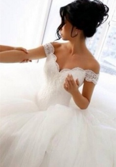 Off The Shoulder Lace Wedding Dresses 2018 Princess Ball Gown Tulle Skirt Bride Dress