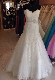 Gorgeous Lace Sweetheart Wedding Dresses Sweep Train Tulle Bridal Gowns
