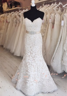 2018 Elegant Full Lace Wedding Gowns Mermaid Sweetheart Cheap Bride Dress with Sash