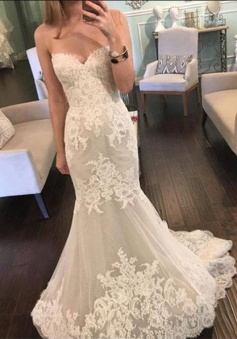 Lace Mermaid Sweetheart 2018 Bridal Gowns New Tulle Long Wedding Dresses BA3980