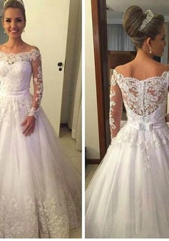 Off the Shoulder Long Sleeve 2018 Wedding Dress A-Line Lace Bridal Gowns