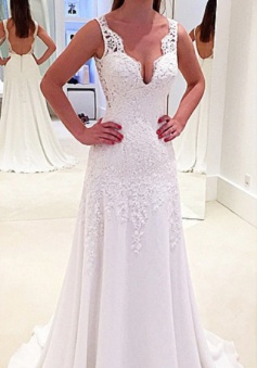 New Arrival Lace Open Back Bridal Gowns Sleeveless Sweep Train 2018 Wedding Dresses