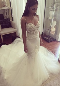 Pretty Spaghetti Straps Sweetheart Wedding Dress 2018 Summer Sheath Tulle Bridal Gown