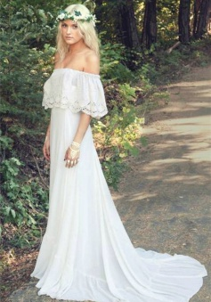 Off The Shoulder 2018 Bohemian Wedding Dresses Lace Summer Beach Wedding Gown BO6883