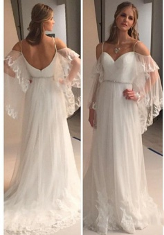 Spaghetti Straps Sweetheart Beach Wedding Dress 2018 Illusion Sleeves Bridal Gowns BA0545