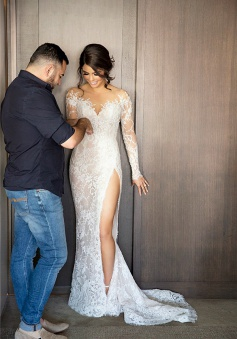 2018 New Full Lace Split Wedding Dresses Illusion Back Bridal Gowns with Detachable Satin Skirt