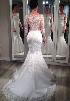 Lace Long Sleeve Wedding Dresses 2018 Vintage Mermaid Bridal Gowns with Appliques