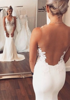 2018 Sheer back Mermaid Wedding Dress Sleeveless Lace summer Beach Wedding Gowns BA3612