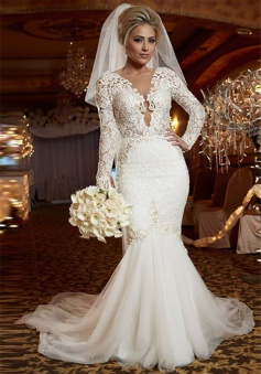 Scoop Long Sleeve Lace Wedding Dress Online Mermaid Backless 2018 Bridal Gowns