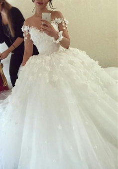 Sheer Long Sleeve Scoop 2018 Ball Gown Wedding Dresses Flowers Tulle Bride Dress with Buttons