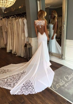 2018 Open Back Sheath Wedding Dresses Sleeveless Vintage Lace Bride Dress