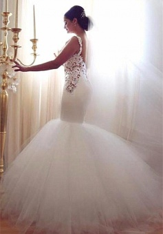 Lace Mermaid Tulle 2018 Wedding Gowns Open Back Sleeveless Sexy Bride Dresses Online