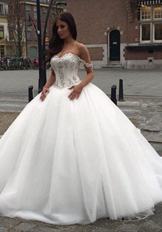 Off The Shoulder Princess Wedding Dress 2018 Sweetheart Crystals Ball Gown Bride Dress