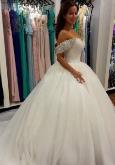 2018 Off Shoulder Ball Gown Wedding Dress Sweeheart Crystals Wedding Gowns