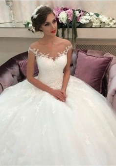 2018 Lace Ball Gown Wedding Dresses Puffy Tulle Princess Bride Dress
