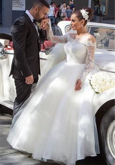 Long Sleeve Lace Princess Wedding Dress Puffy Tulle 2018 Bride Dresses